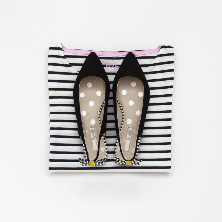 Boden Breton stripe top and pointed suede flats