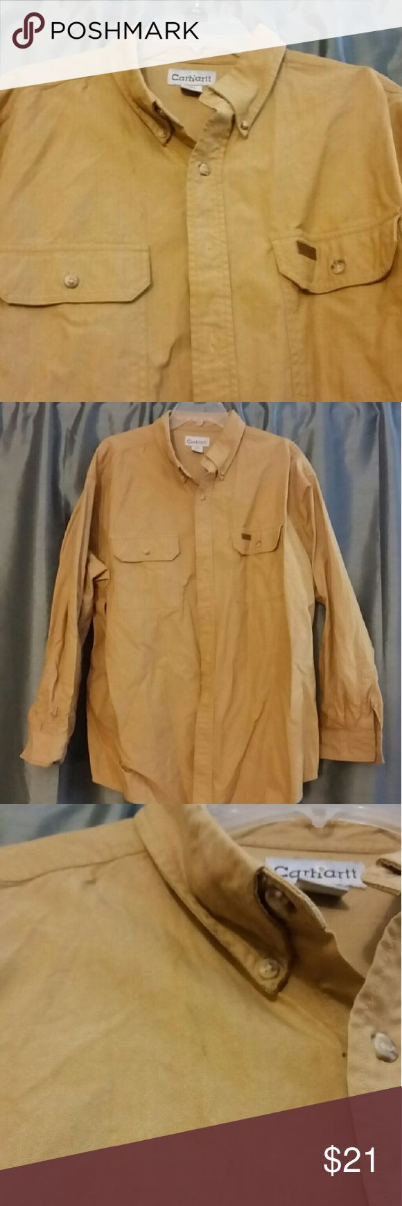 Carhartt Work Shirt Khaki long-sleeved 100% cotton work shirt. Button-down collar. Small smudge on chest (shown in picture) Carhartt Shirts