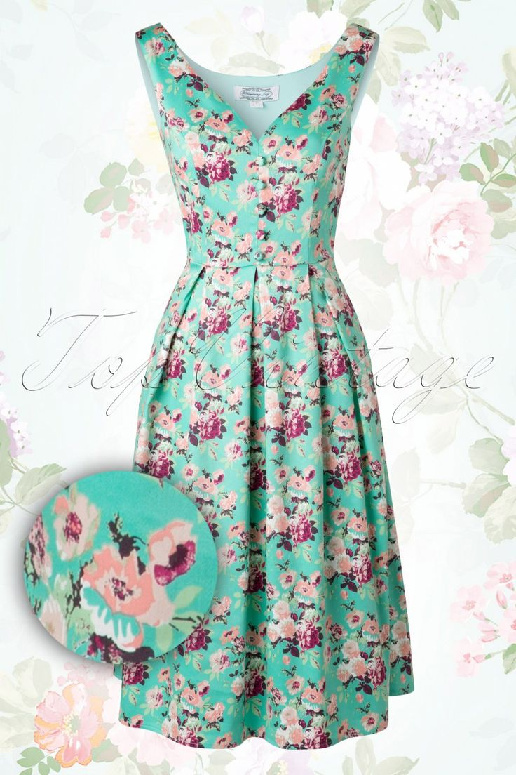 40s Sweet Floral Dress in Mint Green