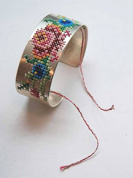 Roses cross stitch bracelet. Embroidery on metal! Cool!