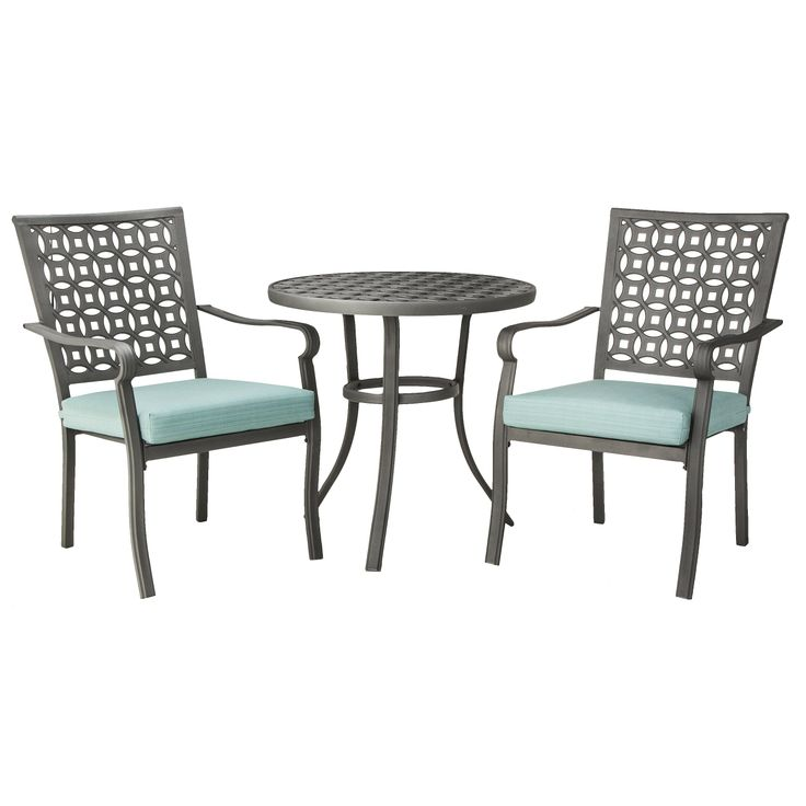threshold hawthorne 3 piece metal patio bistro target