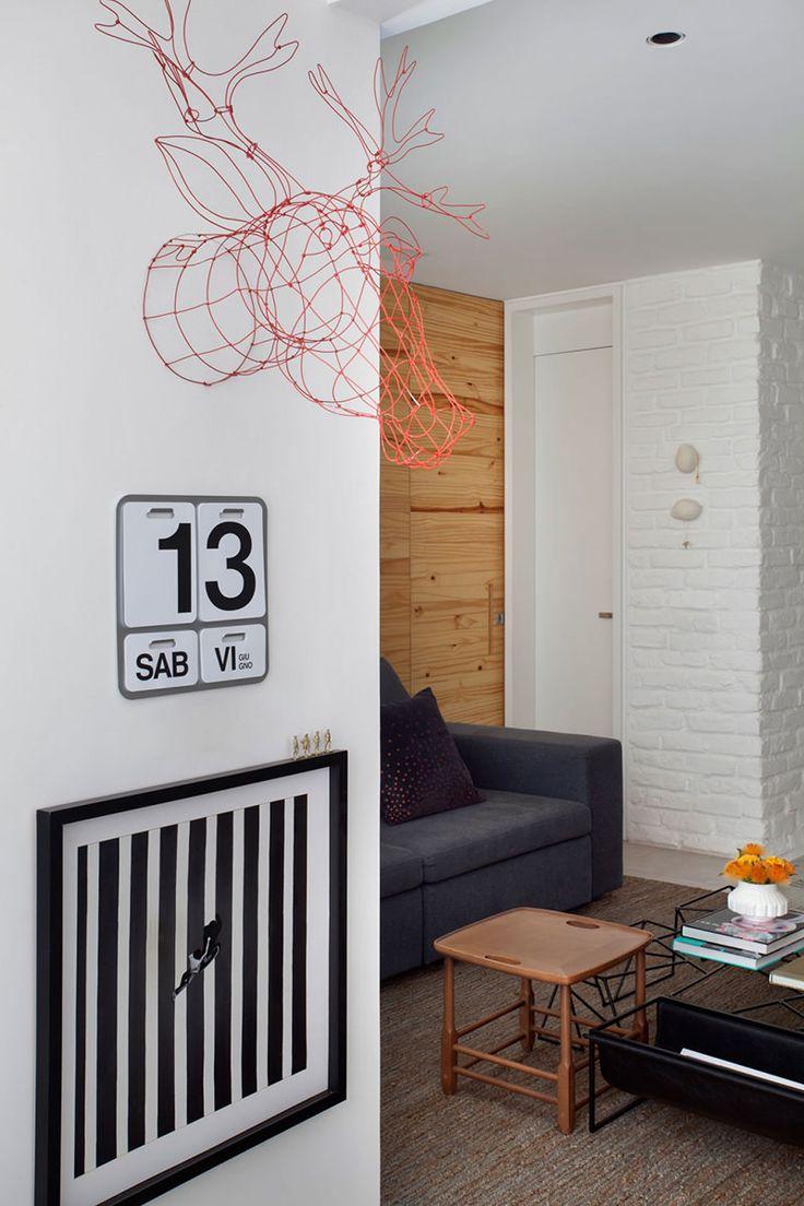 Apartamento Pequeno Com Cimento Queimado E Tijolinho Aparente. Living Room  IdeasLiving SpacesContemporary ApartmentA ... Part 60