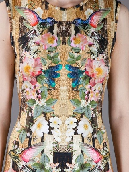 Alexander Mcqueen Dragonfly Print Shift Dress in Multicolor