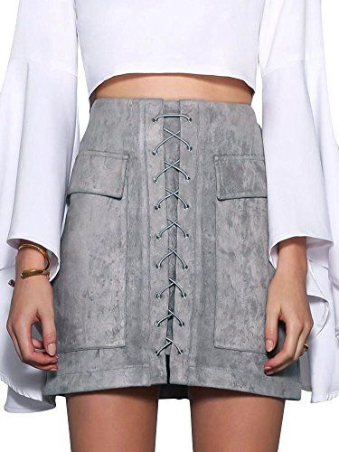 67dfb6df7c44 Simplee Apparel Women's Autumn Winter Casual High Waist Lace Up Front Zip  Back Pockets Short Faux Leather Mini Skirt Grey