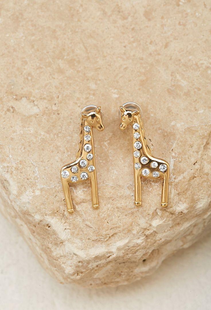 Rhinestoneencrusted Giraffe Studs  Forever 21  1000172032