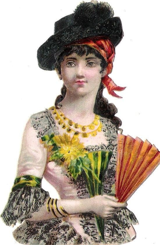 Oblaten Glanzbild scrap die cut chromo Lady Dame femme Fächer fan national