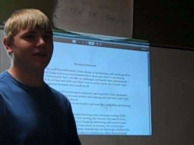 Tyler practices his passage presentation to move from 10th grade to 11th grade at Vista Grande, an Expeditionary Learning charter High School.