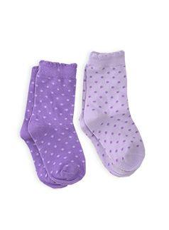 Hosiery Girls 2pk Ditty Spot Socks Pastel Lilac