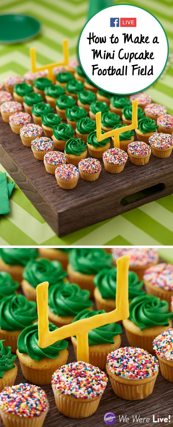 Learn how to make a cute football field made of mini cupcakes! This project is so easy to make and will surely impress your guests at your game day party. Click to watch our Facebook Live now!