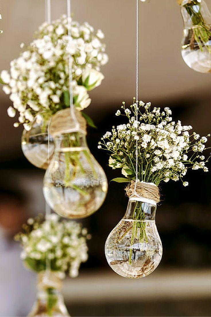 lightbulb hanging flower bouquet holders.