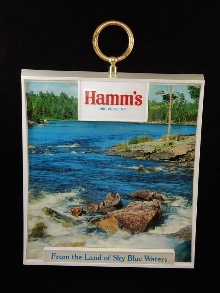Hamm's Beer Plastic Water Scene Advertising Sign RARE