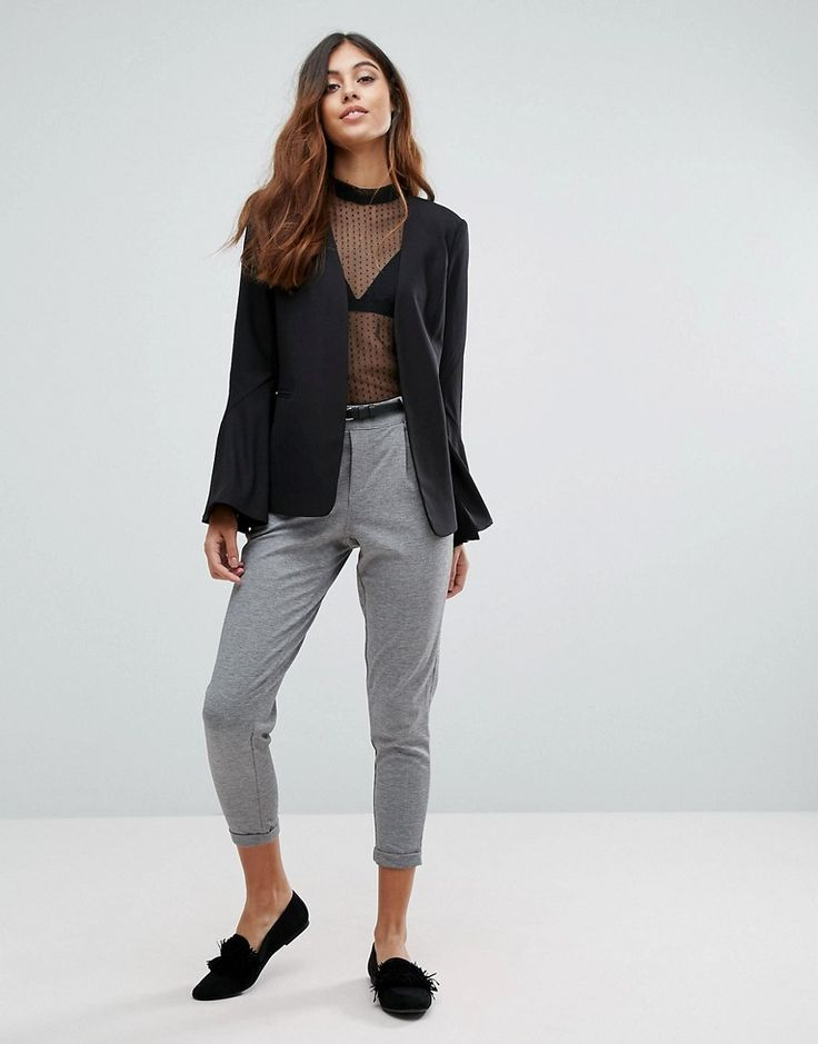 Vero Moda Peg Pants With Belt - Gray