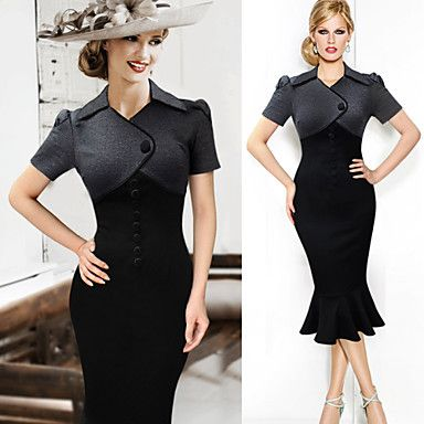 Monta Women's Vintage/Sexy/Bodycon/Party/Work Square Short Sleeve Dresses (Cotton Blend/Polyester) - USD $ 16.99