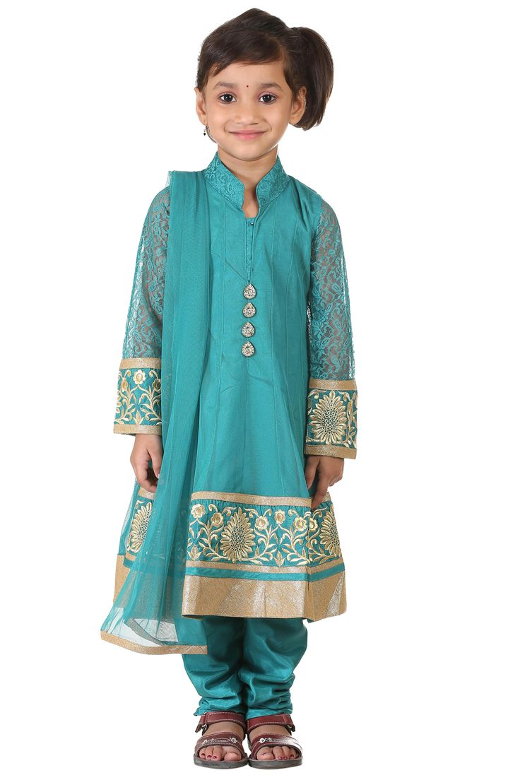 Buy Ashwini Girls Netted Embroidery Green Salwar for Girls from age 2-8 years at http://Singlekart.com/ Currently available for Customers in Bangalore. #singlekart RHClothing