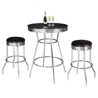 Hathaway Remington 3 Piece Pub Table Set - Chrome (Grey) and Black