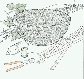 basket weaving instructions (pdf is at the end of the arrows) (I use pine needles)