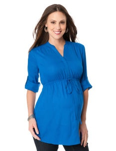 Perfect for work or even over leggings. Easy to layer up with an open front cardigan. -- Convertible Sleeve Tie Front Maternity Tunic