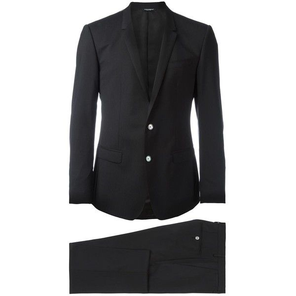 Dolce & Gabbana formal suit (€1.870) ❤ liked on Polyvore featuring men's fashion, men's clothing, men's suits, black, dolce gabbana mens clothing, dolce gabbana mens suits, mens slim suits, mens slim fit suits and mens tailored suits