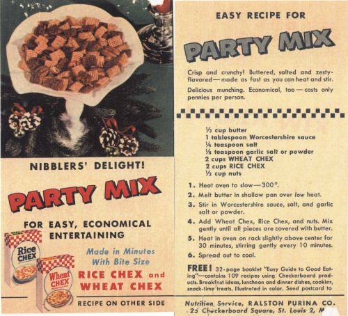 The Original Chex Party Mix Chex Party Mix recipe first appeared on the side panel of Chex cereal boxes in 1953. The story behind the recipe's popularity is credited to the wife of a Ralston Purina executive who brought the party mix to a social...