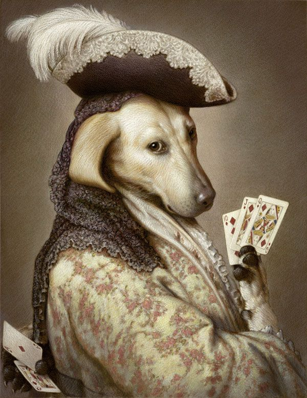 Pokerdog Retriever | Kurt Wenner | Anthropomorphic dog art.