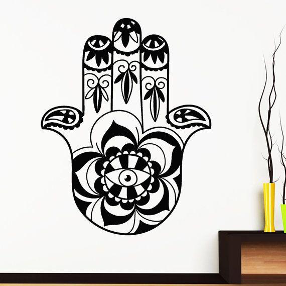 Arte PARED calcomanías Fatima mano ojo Hamsa etiqueta Yoga Ganesh India Buda vinilo dormitorio decoración baño Casa de moda diseño de Boho Interior 750