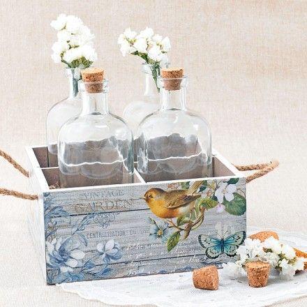 Set de 4 botellas de cristal con caja primaveral: