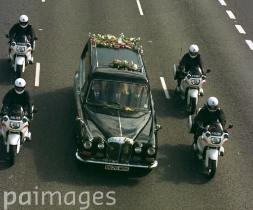 Princess Diana's funeral cortege on the M1 at Toddington Bedfordshire on route to Althorp House.