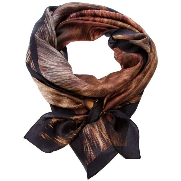 MCQ BY ALEXANDER MCQUEEN Print Scarf ($260) ❤ liked on Polyvore featuring accessories, scarves, silk scarves, mcq by alexander mcqueen, print scarves, brown scarves y brown shawl
