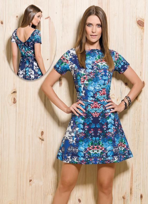 Vestido Evasê Estampa Floral - Posthaus