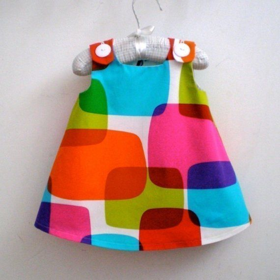 Rainbow Windowpanes toddler girl's children's dress by aprilscott, $40.00