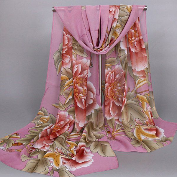Chic Handpainted Big Peony Leaf Butterfly Pattern Women's Chiffon Scarf #hats, #watches, #belts, #fashion, #style