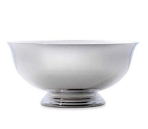 """select gift: Reminiscent of Paul Revere's period workmanship this sterling bowl remains a cherished symbol of our national heritage. Appropriately entitled the """"Liberty Bowl"""" it features the classic clean design; a beautiful reproduction of Paul Revere's handcrafted bowl that he presented as a gift to the Sons of Liberty. The clear plastic liner insures that the bowls interior retains its shine and provides ample protection for your tabletop"""