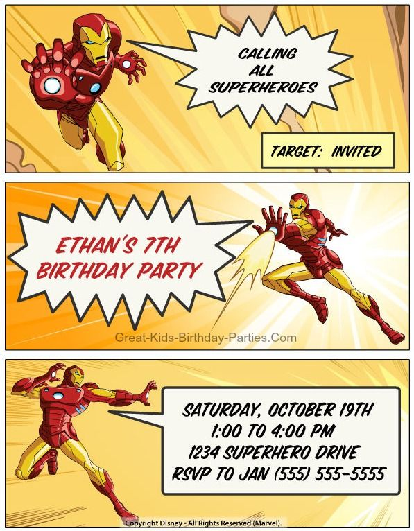 20 best Iron Man Party images – Iron Man Birthday Card