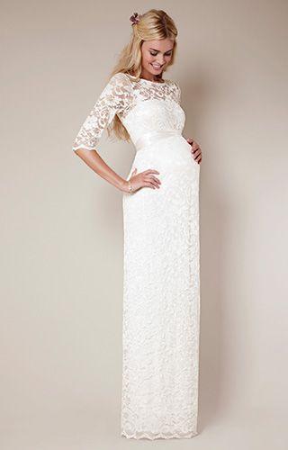 Amelia Umstandsspitzenkleid lang (Elfenbein) - Umstandshochzeitskleider, Abendgarderobe und Partykleidung by Tiffany Rose.