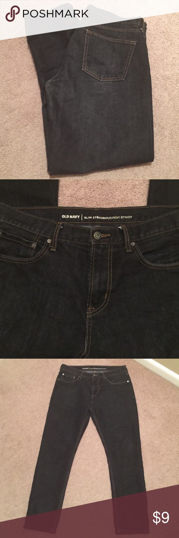 Men's faded black Old Navy jeans 👖 Gently worn, great condition!! Washed a few times. Size 34x30. Slim straight jeans. Old Navy Jeans Slim Straight