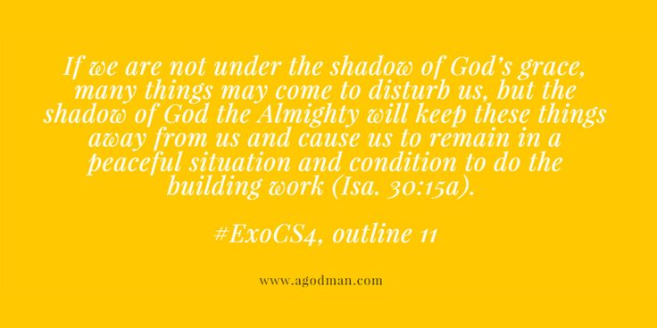 If we are not under the shadow of God's grace, many things may come to disturb us, but the shadow of God the Almighty will keep these things away from us and cause us to remain in a peaceful situation and condition to do the building work (Isa. 30:15a). #ExoCS4, outline 11. More at www.agodman.com