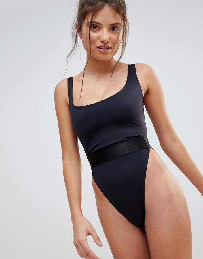 bd56ff82b0b ASOS FULLER BUST High Leg Elastic Waist Swimsuit DD-G Swimsuit by ASOS  Collection, Plain swim fabric, Scoop neck, Power mesh support in the bust,  ...