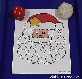 Santa Playdough Roll Count and Cover ... great for fine motor and math skills.