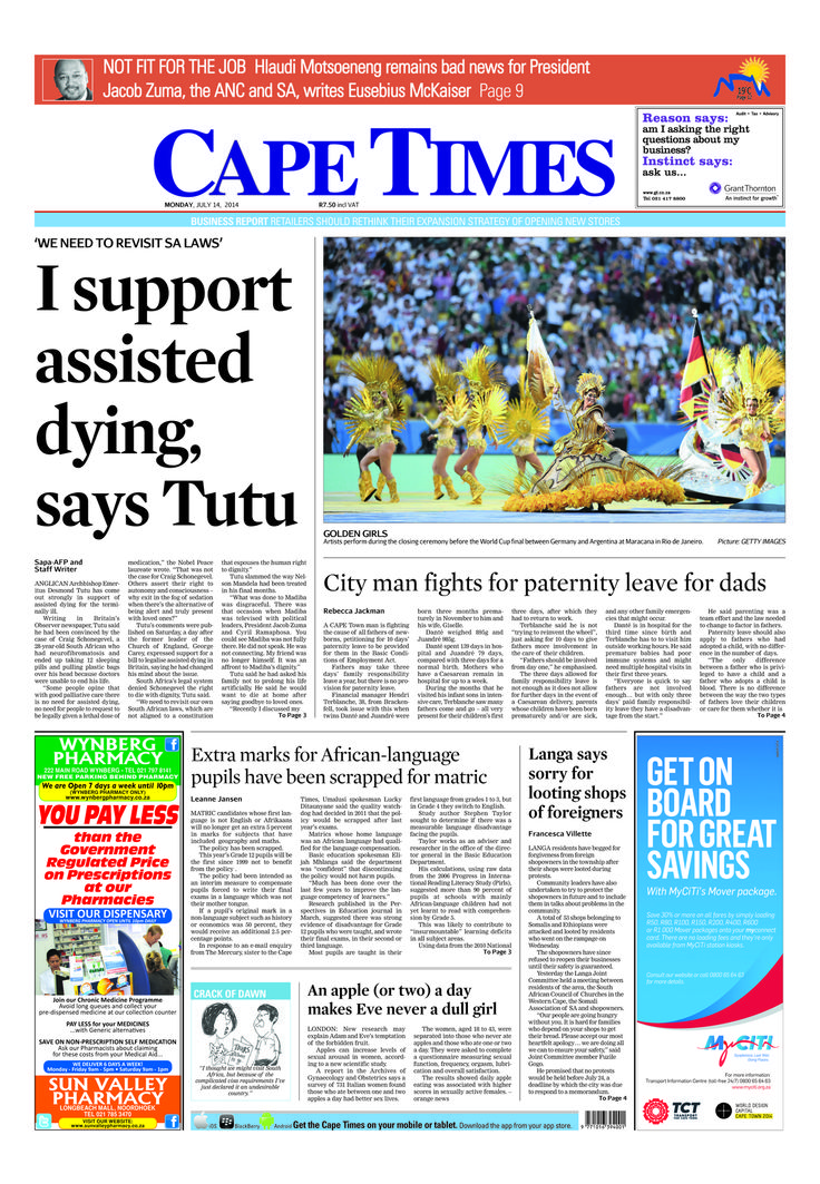 News making headlines: I support assisted dying, says Tutu