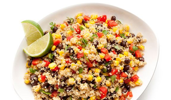 Southwest Quinoa Salad  note from MomMe Marie: add an extra teaspoon of cumin and an extra tablespoon of lime juice to this recipe.
