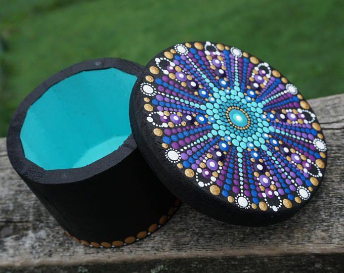 Punto arte Mandala caja pintada colección Maya Azteca redondo madera trullo púrpura azul oro