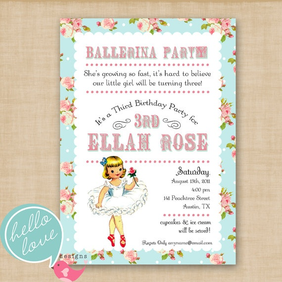 Best Invitations Images On Pinterest Birthday Party Ideas - Vintage girl birthday invitation