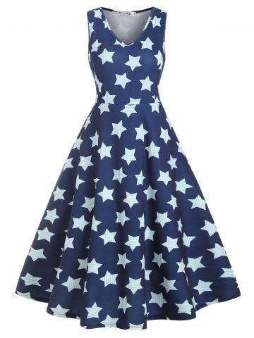 Midi Sleeveless Stripes Star Print Plus Size Dress