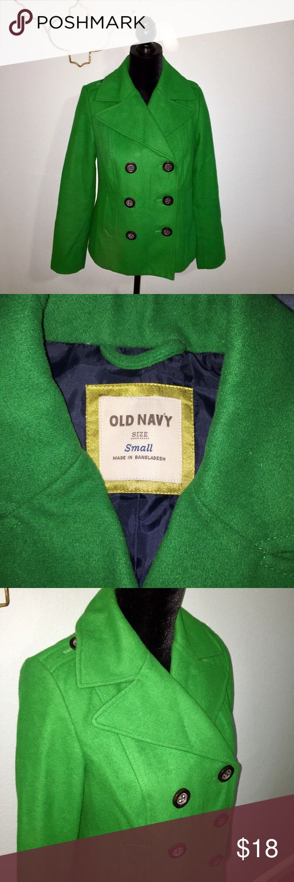 Old Navy Kelly green pea coat size small Cute kelly green pea coat from Old Navy. Size small. Chest 36 inches, shoulder to hem 24 inches, sleeve 30 inches. 58% polyester, 42% wool. Old Navy Jackets & Coats Pea Coats