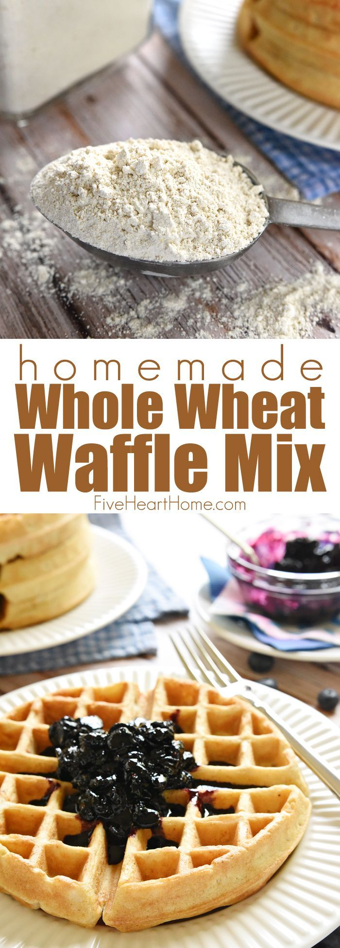 Homemade Whole Wheat Waffle Mix ~ an economical pantry staple for conveniently whipping up fluffy, all-natural, 100% whole wheat waffles! | FiveHeartHome.com