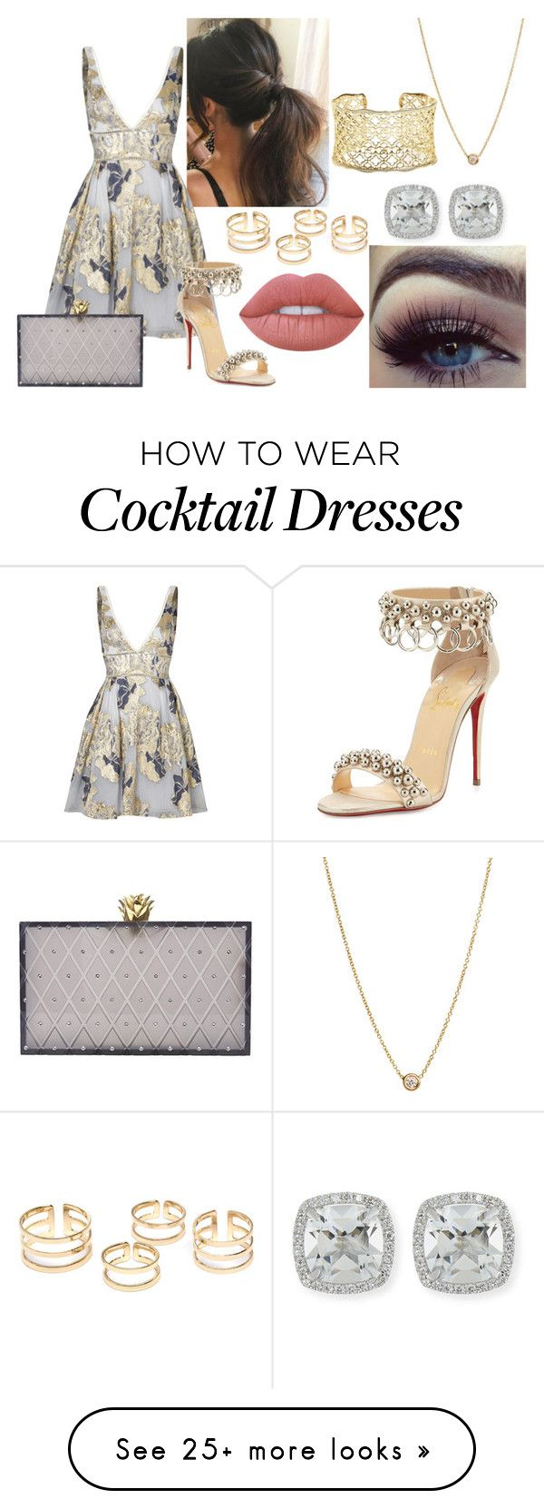 """Untitled #235"" by xoxojay1 on Polyvore featuring Notte by Marchesa, Christian Louboutin, Zoë Chicco, Lime Crime, Kendra Scott, Frederic Sage and Charlotte Olympia"