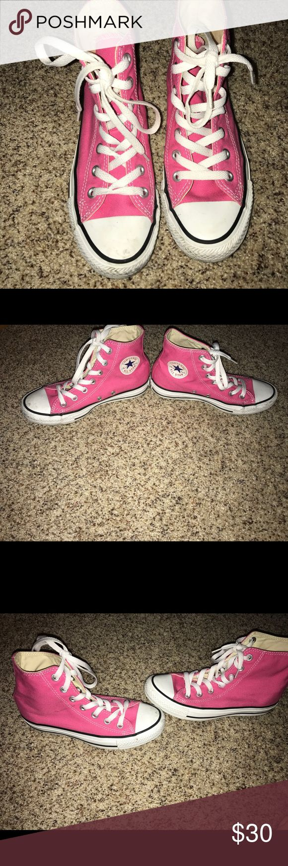 High top converse Pink high top converse. Worn twice. No flaws minor dirt scuff easy to remove with soap and water. Size 6. Originally 55. Converse Shoes Sneakers