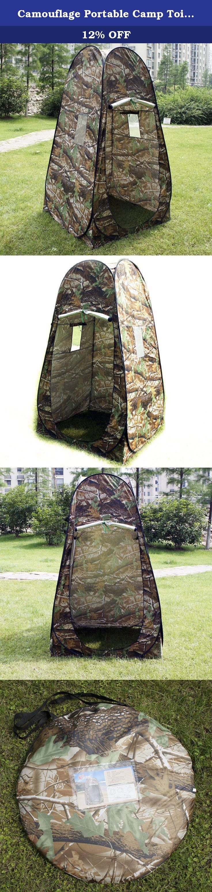 Camouflage Portable Camp Toilet Pop Up Tent Privacy Shower Changing Room With Bag. The Camouflage Pop-up Tent could offer a private shelter for toilet, changing clothes or camping. It is a good choice to use this item in public places such as park, pool, beach, campsite etc. Just taking the carrying bag around, and unfold the tent! A pop-up tent will show up in front of you. The roof design offers a private room to dress up. Windows will provide better ventilation. The zipper door is easy...