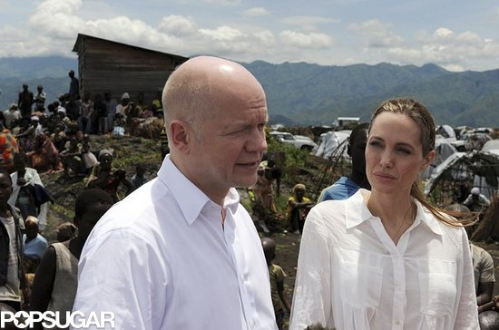 Angelina Jolie joined William Hague when he announced that the UK would be donating money toward victims of sexual violence. More info on her trip to Africa here.