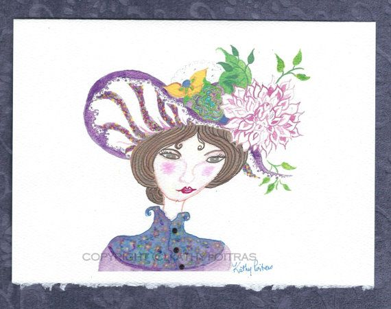 Dahlia Hat greeting card of a big floppy hat by KathyPoitrasArt